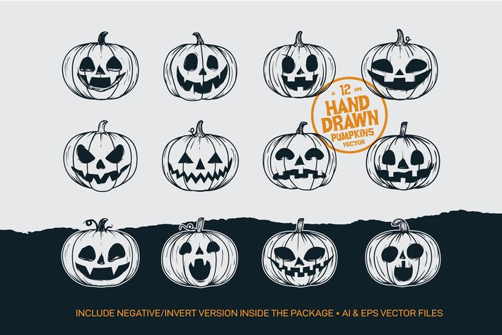 Thumbnail for 12 Hand Drawing Halloween Pumpkins