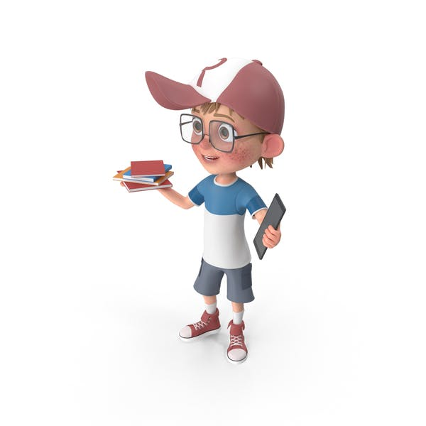 Thumbnail for Cartoon Boy Holding Books And Tablet