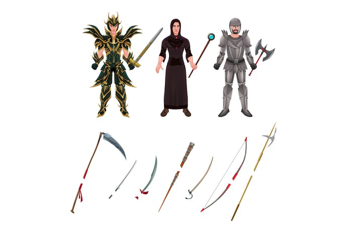 Thumbnail for Medieval Avatar with Armors and Weapons