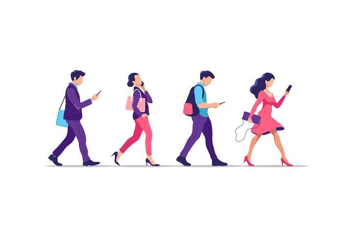 Menschen mit Smartphones