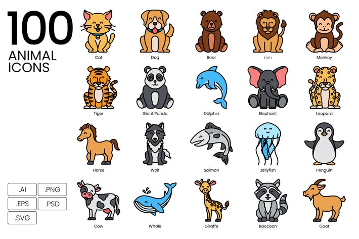 Thumbnail for 100 Animal Line Icons