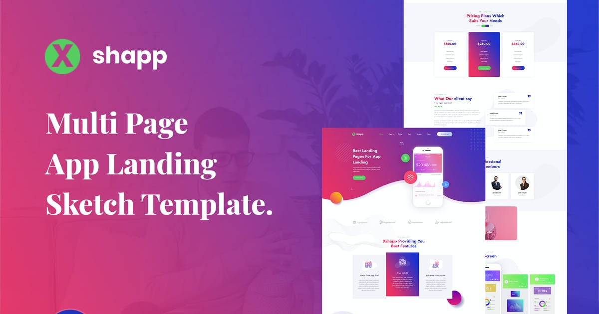 Download Xshapp - Multipage App Landing Sketch Template by envalab