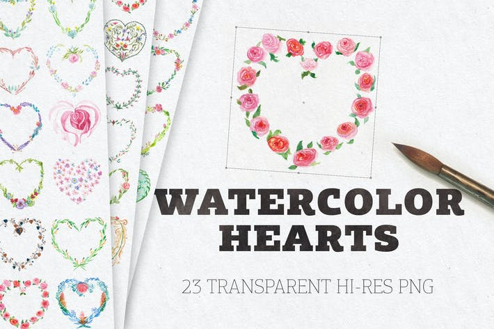 Thumbnail for Watercolor Floral Hearts