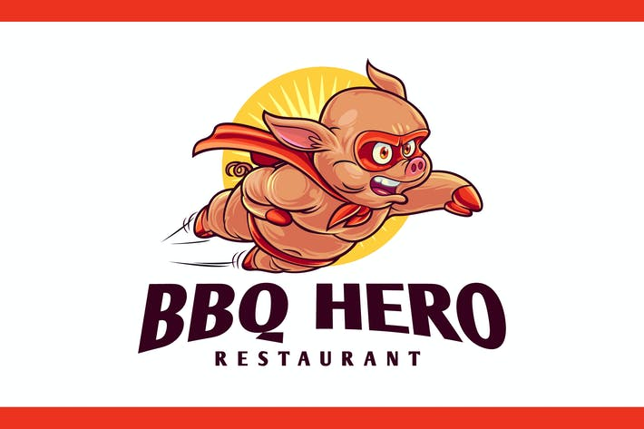 Thumbnail for BBQ Hero - Pig Superhero Barbecue Mascot Logo