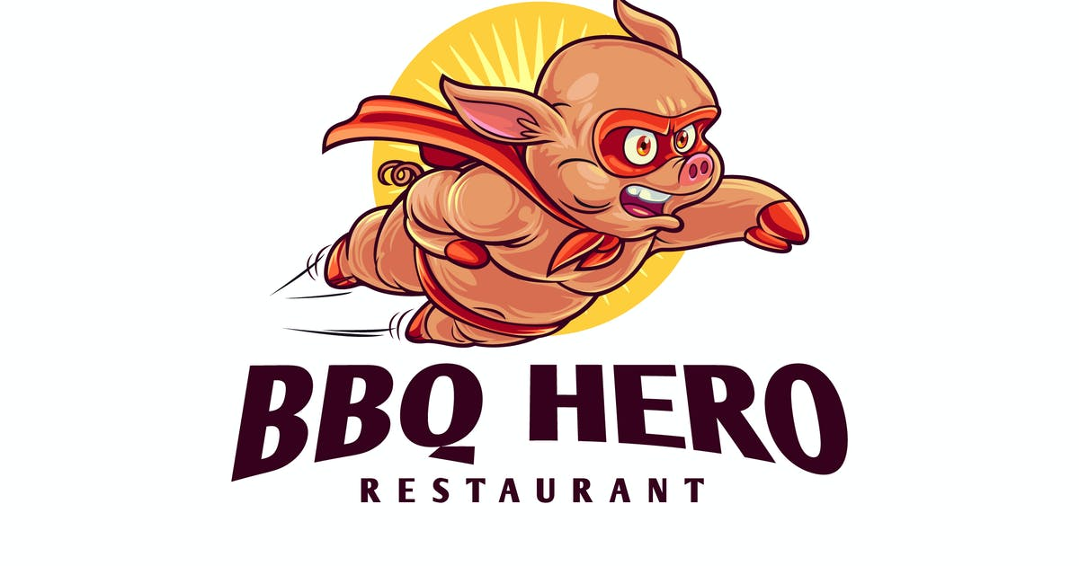 Download BBQ Hero - Pig Superhero Barbecue Mascot Logo by Suhandi