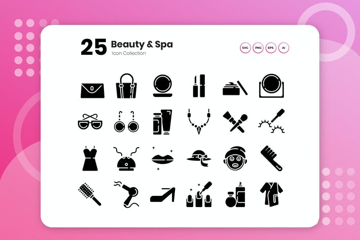 Thumbnail for 25 Beauty & Spa Glyph Icon Set