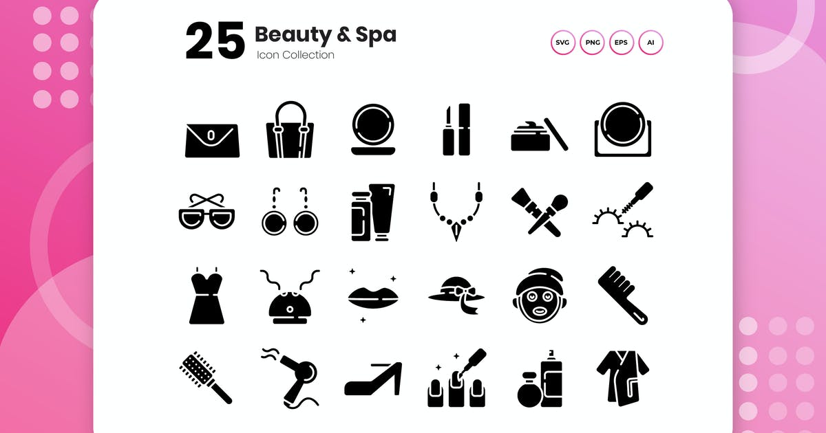 Download 25 Beauty & Spa Glyph Icon Set by vectorclans