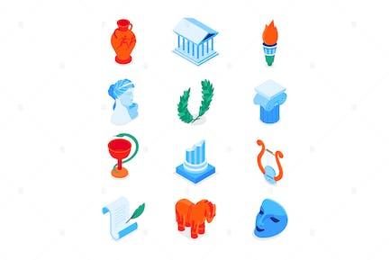 Altes Griechenland - Moderne bunte isometrische Icons