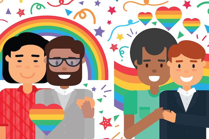 Thumbnail for Happy Homosexual Couples Illustration
