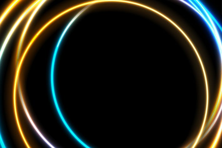 Thumbnail for Blue orange neon glowing circles abstract backdrop