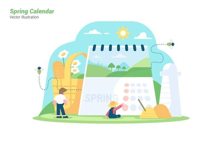 Thumbnail for Spring Calendar - Vector Illustration