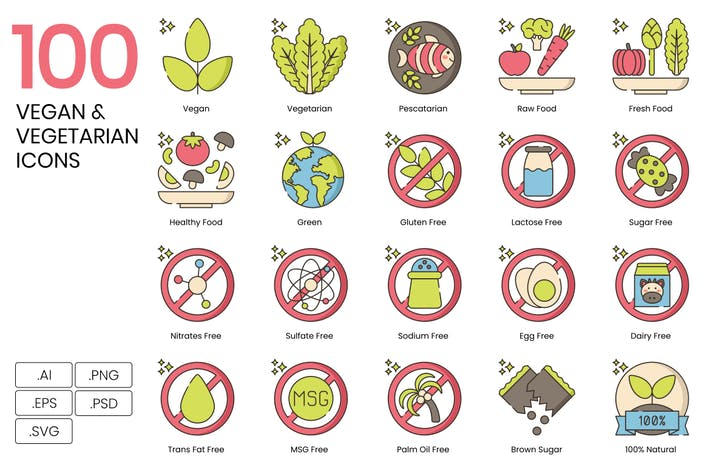 90 Vegan & Vegetarian Icons - Hazel Series