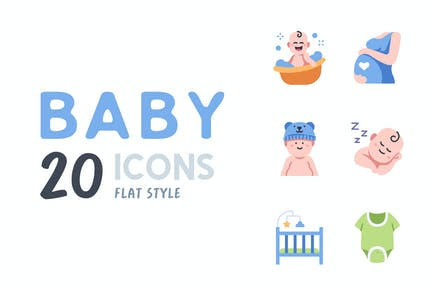 Elemente 20 Baby flache Icon-set