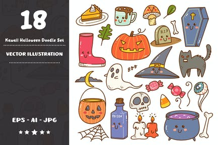 Kawaii Halloween Doodle Set