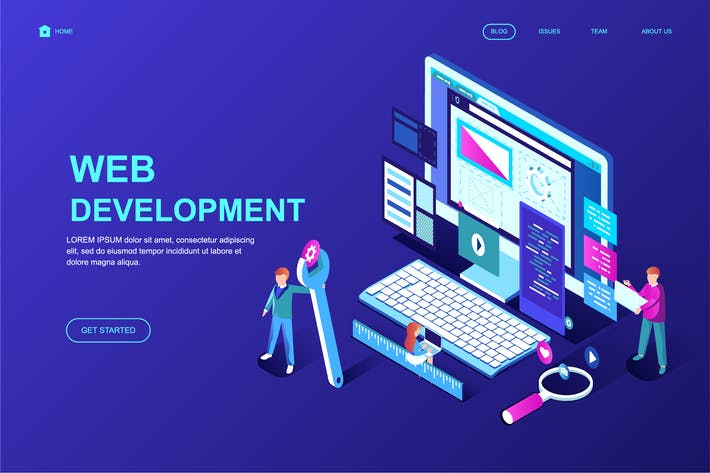Thumbnail for Web Development Isometric Landing Page Template