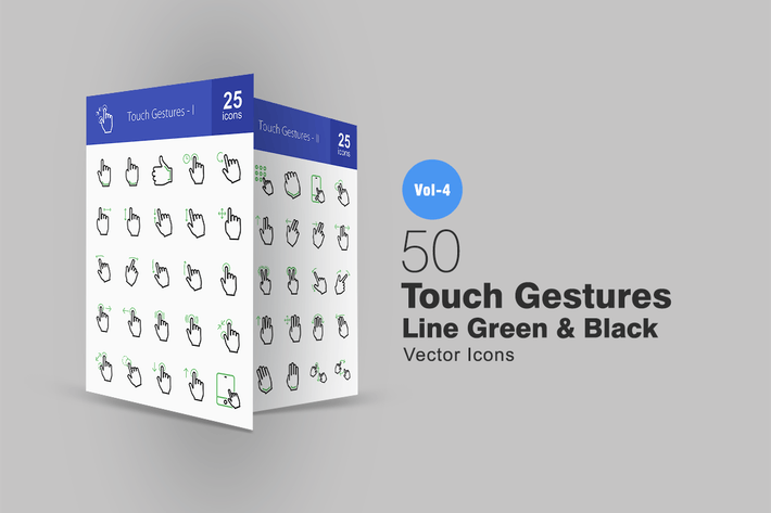 Thumbnail for 50 Touch Gestures Line Green & Black Icons