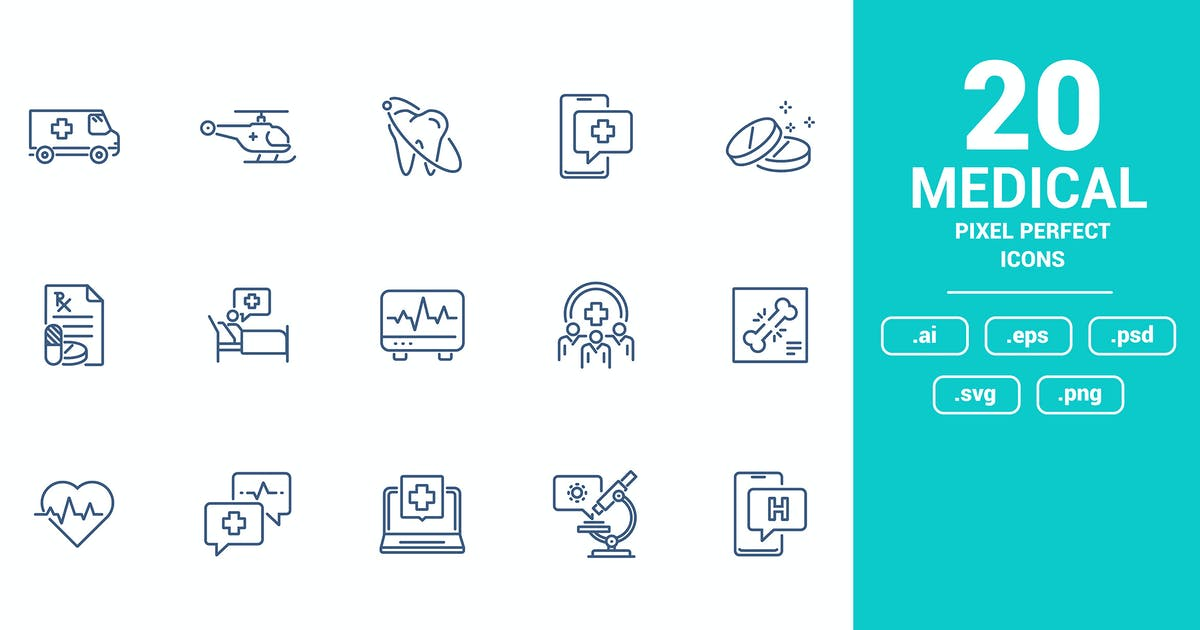 Download Flat line icons design - Medical by graphics4u