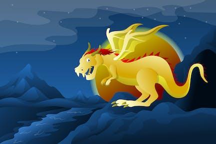 Dragón en un mundo de fantasía - Ilustración de paisaje