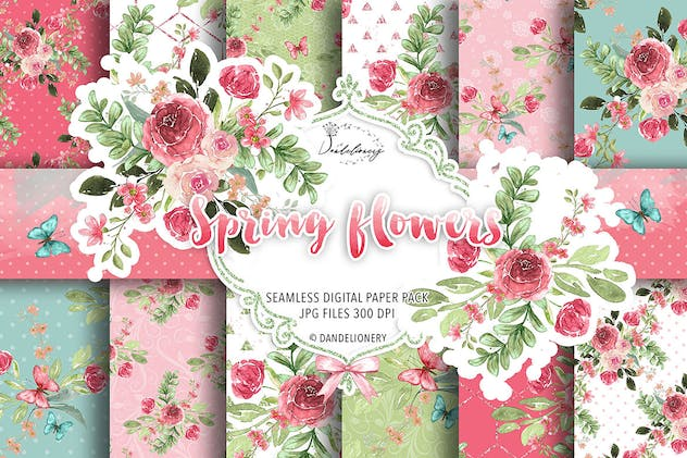 Spring flowers digital paper pack