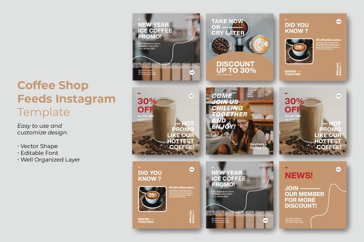Coffee Shop Instagram Feeds Template