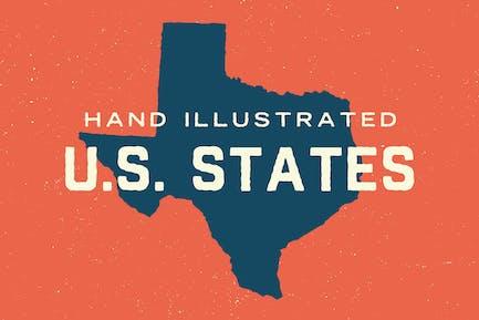U.S. 50 States Map Shapes