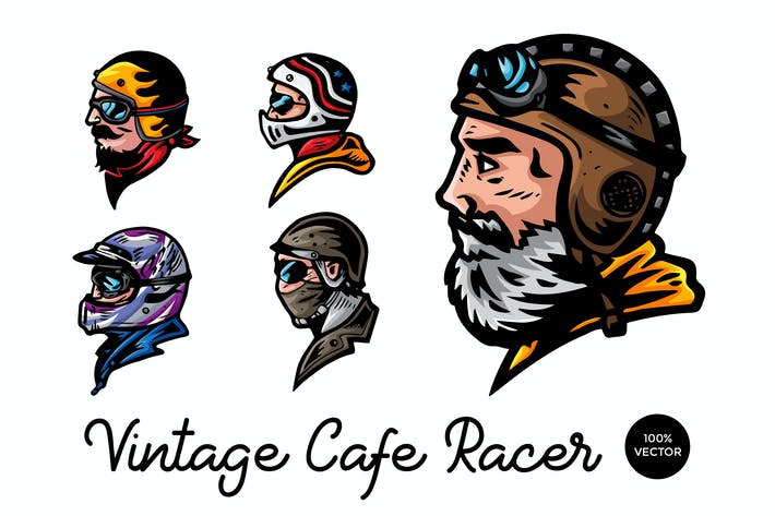 Thumbnail for 5 Vintage Cafe Racer Biker Vector Illustration