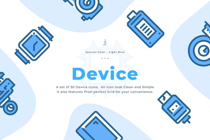 Thumbnail for 30 Device and Technology Icons - Light Blue