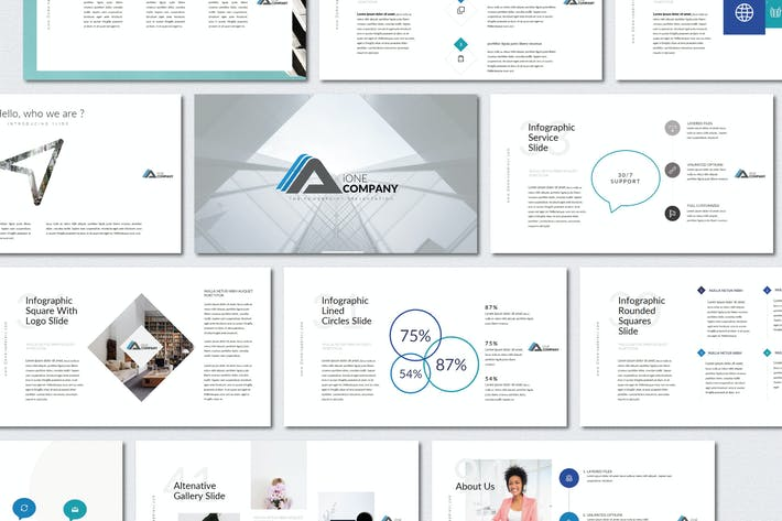Thumbnail for iOne Business Pitch Deck | Powerpoint Templates