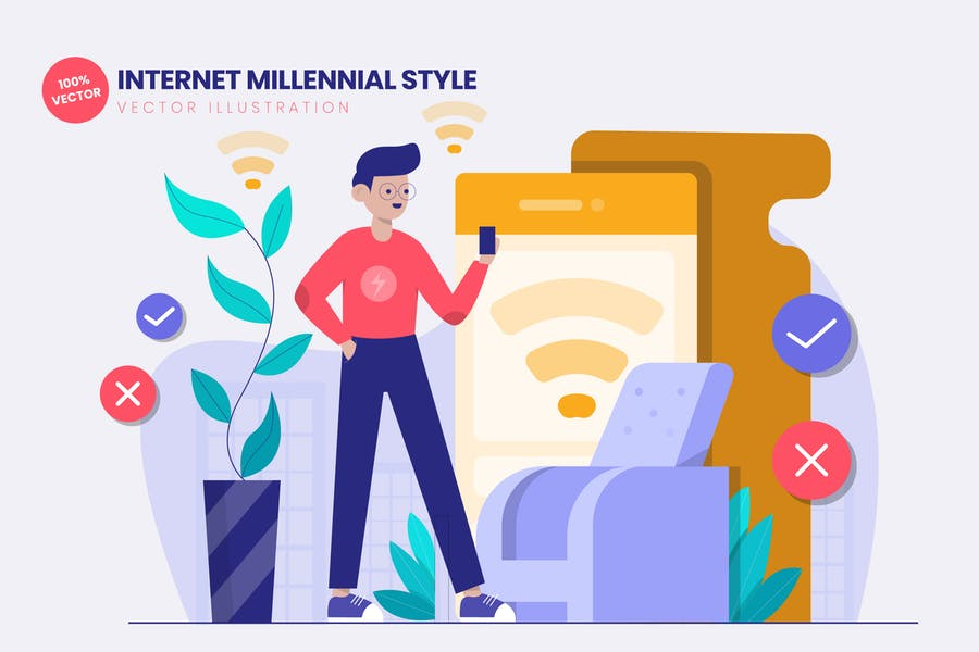 Internet Millennial Style Flat Vector Illustration