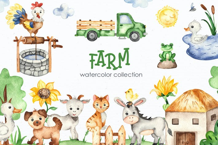 Thumbnail for Watercolor Farm Clipart