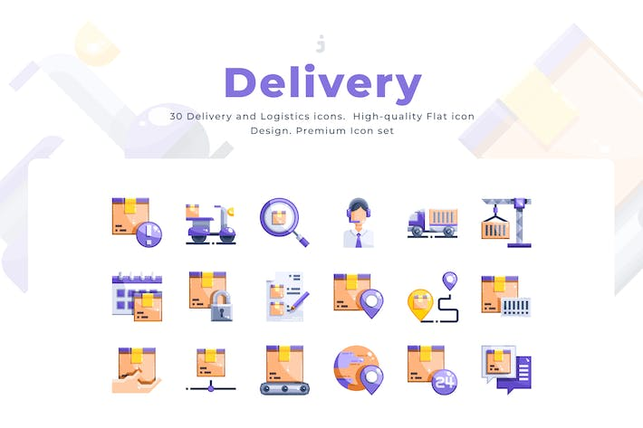 Thumbnail for 30 Delivery Icons - Flat