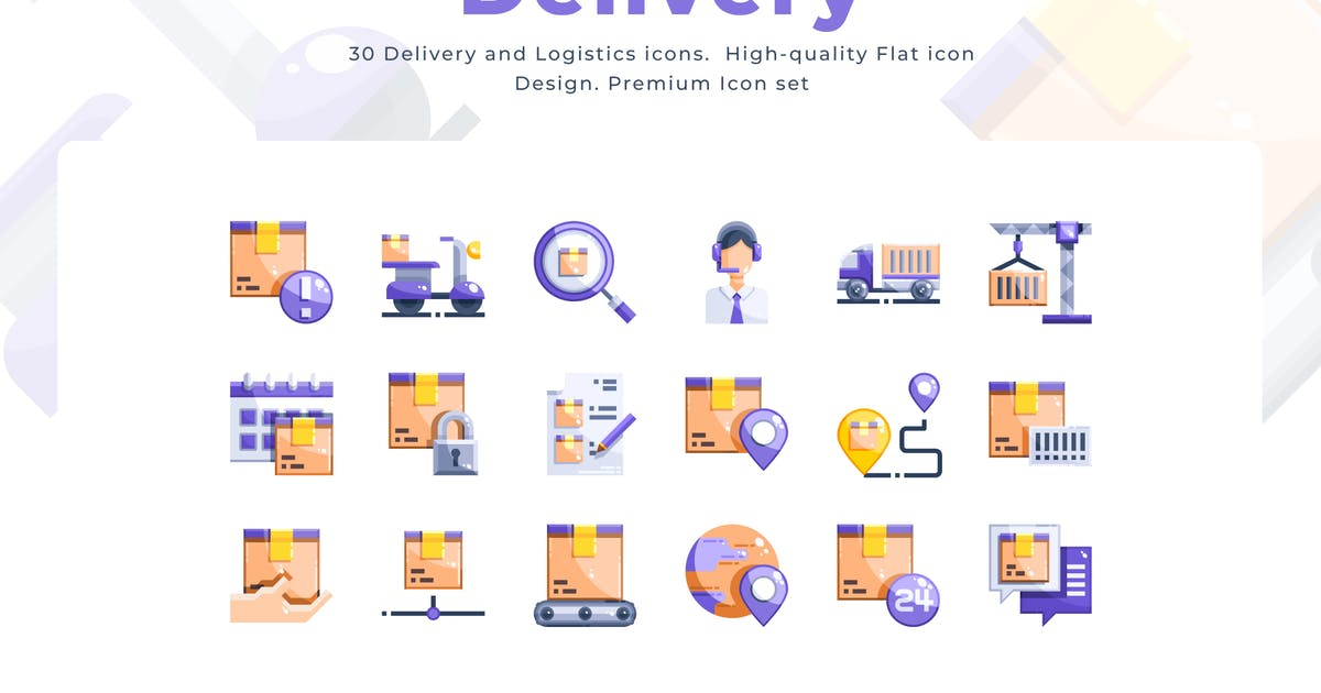 Download 30 Delivery Icons - Flat by Justicon