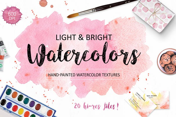 Thumbnail for Bright watercolor textures pack