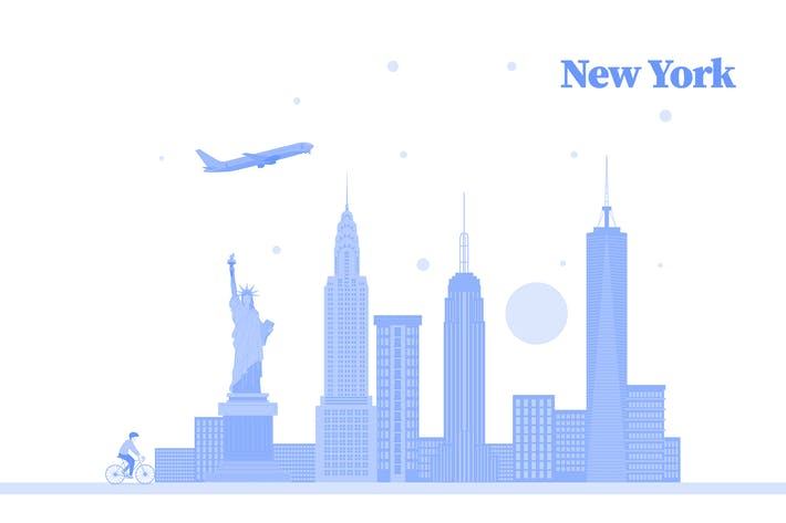 Thumbnail for Vector City Illustration - New York skyline