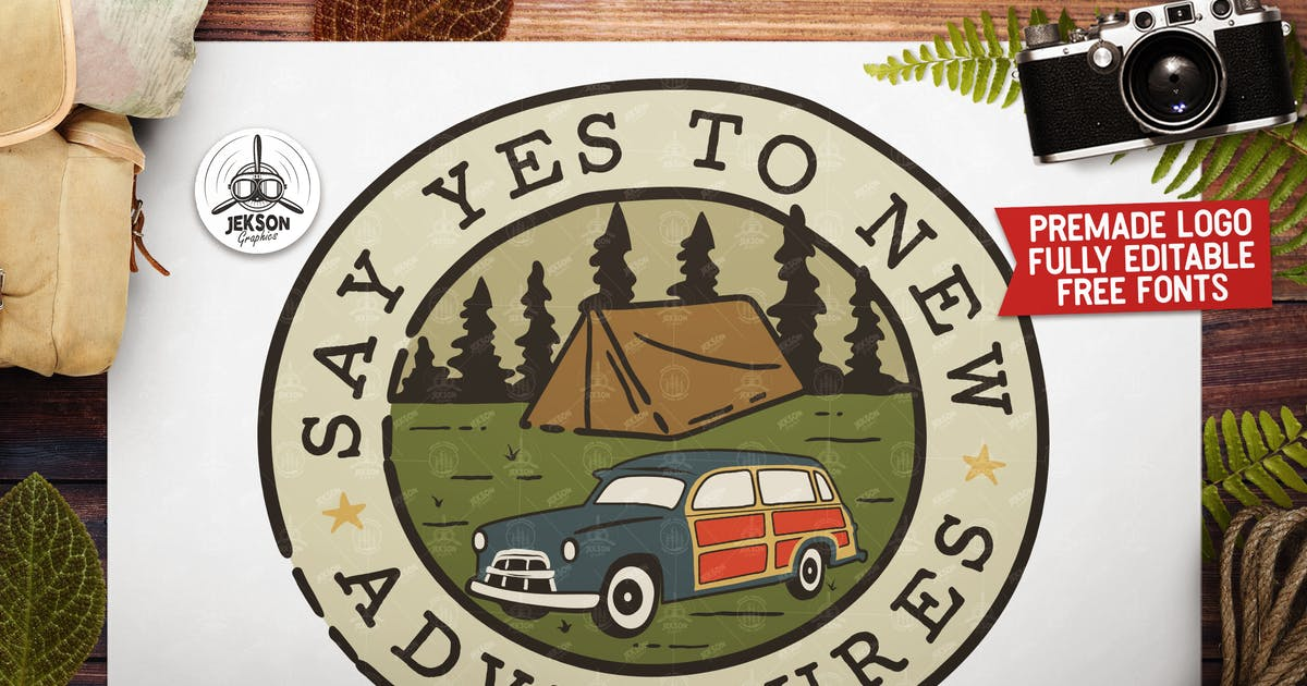 Download Hiking Adventure Badge / Vintage Camp Logo Patch by JeksonJS