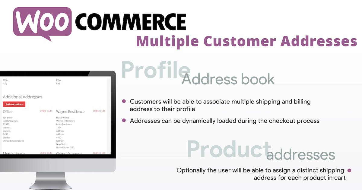 Download WooCommerce Multiple Customer Addresses by vanquish