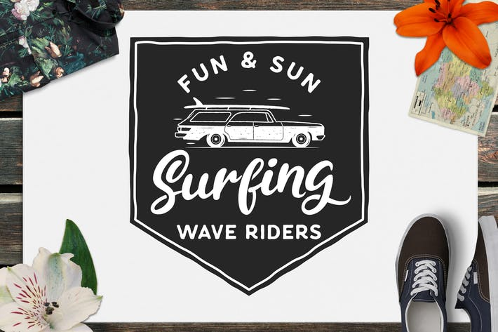 Cover Image For Surfen Retro Logo Design, Wave Rider T-Shirt Druck