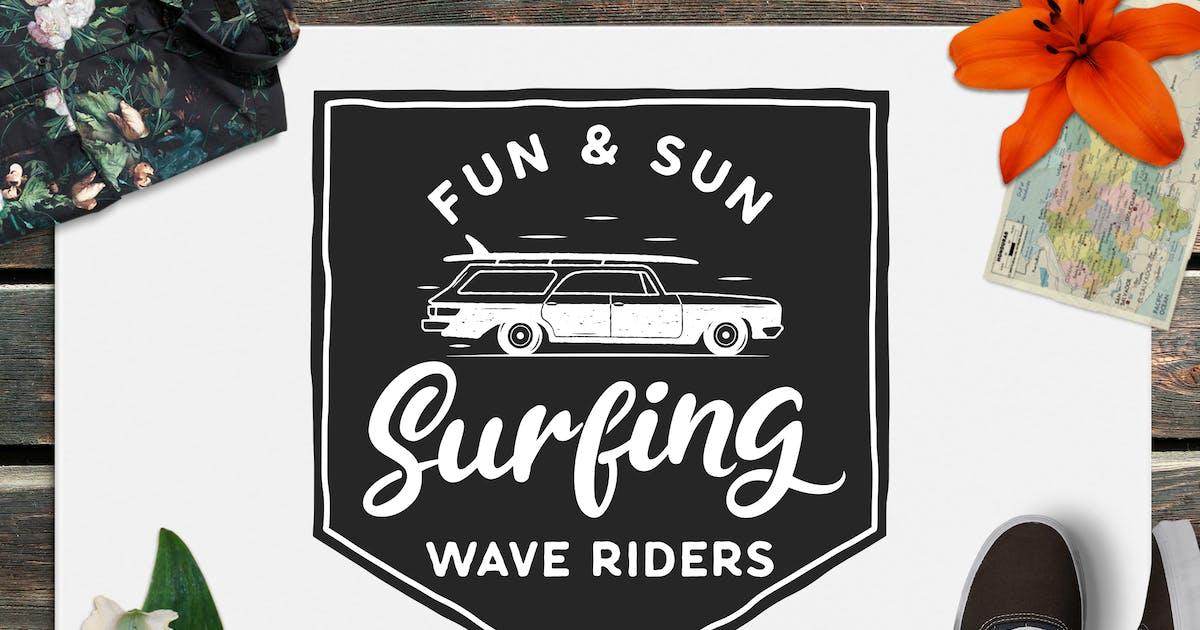 Download Surfing Retro Logo Design, Wave Rider TShirt Print by JeksonJS