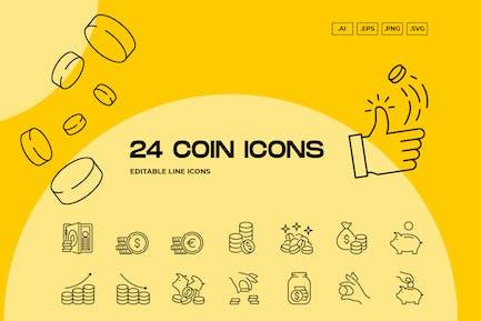 24 Coin Editable Line Icons