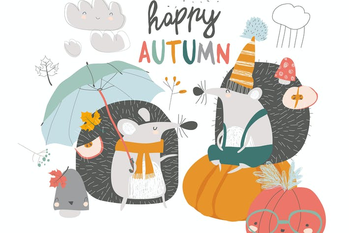 Thumbnail for Cute autumn Hedgehogs with umbrella and pumpkins.