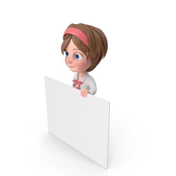 Thumbnail for Cartoon Girl Holding Sign