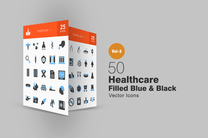 Thumbnail for 50 Healthcare Blue & Black Icons