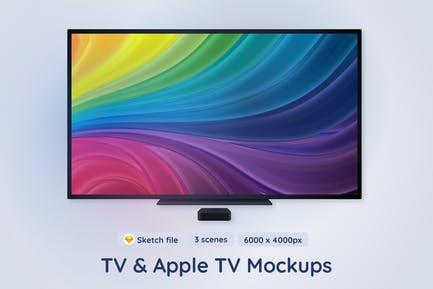 TV and Apple TV Mockups - 3 different scenes