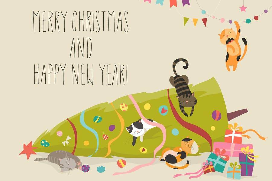 Crazy cats with Christmas tree. Vector
