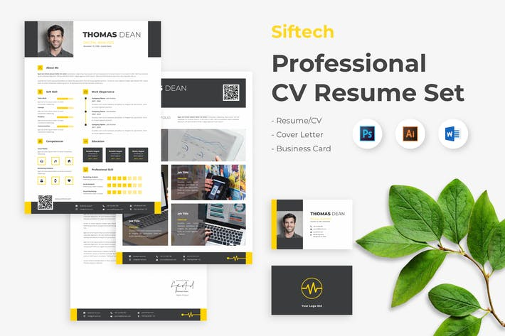 Thumbnail for Professional Creative CV Resume Set - Siftech