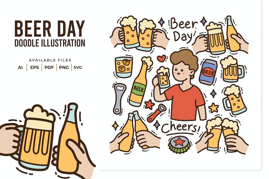 Beer Day Doodle Illustration