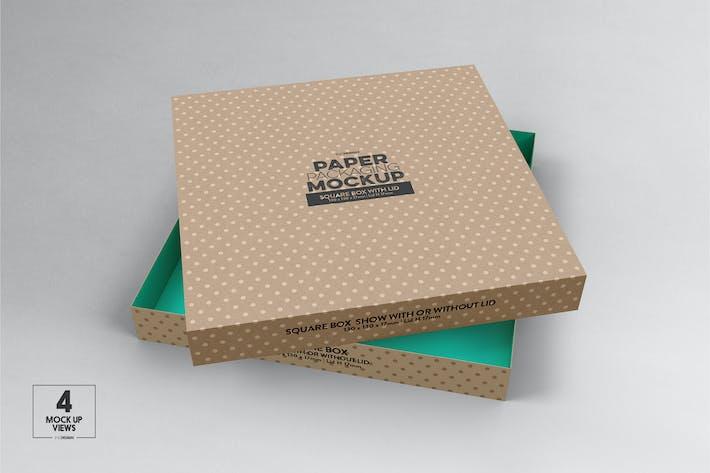 Thumbnail for Medium Square Paper Box & Lid Mockup