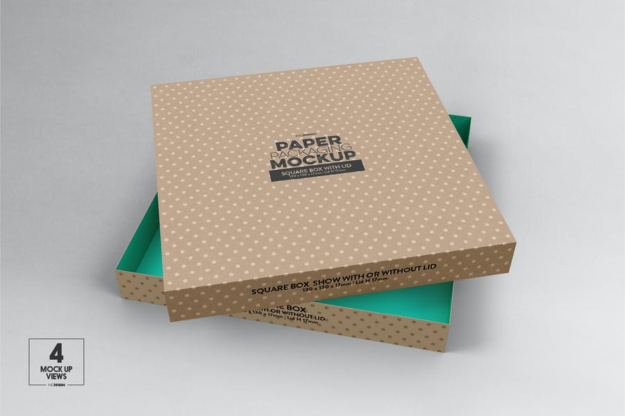 Medium Square Paper Box & Lid Mockup