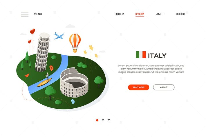 Visit Italy - modern colorful isometric web banner