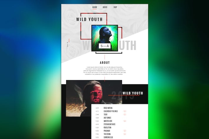 Thumbnail for Music Web Page Template